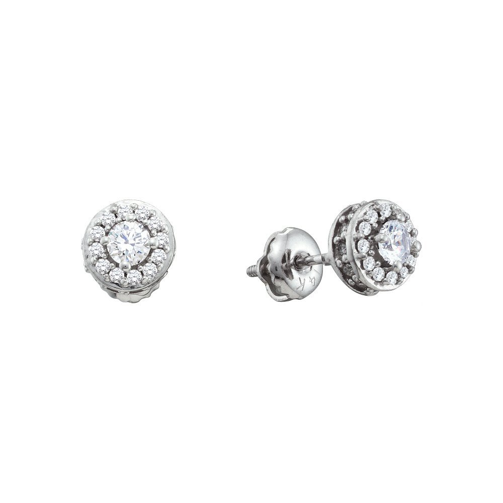 Genuine 0.50 CTW Diamond Earrings 14KT White Gold -