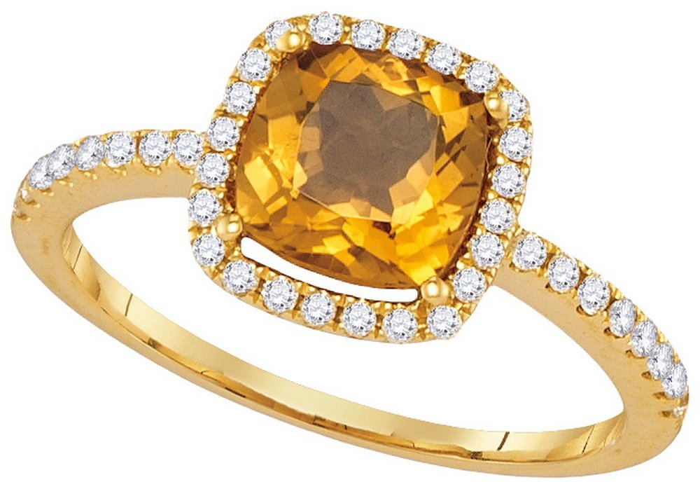 Genuine 1.25 CTW Citrine & Diamond Ladies Ring 14KT
