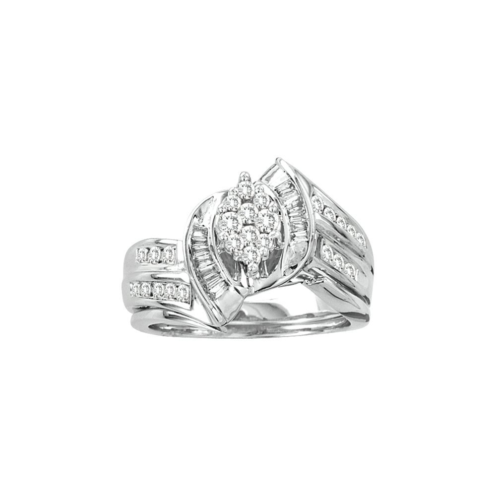 Natural 0.63 ctw Diamond Bridal Set Ring 14K White Gold