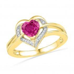 Genuine 1.05 Ctw Pink Sapphire & Diamond Ladies Ring
