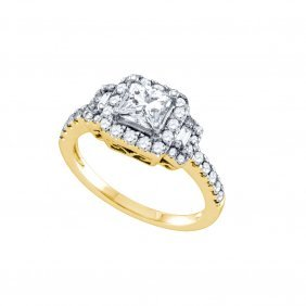 Natural 1.25 Ctw Diamond Bridal Ring 14k Yellow Gold -