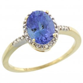 Natural 1.33 Ctw Tanzanite & Diamond Engagement Ring