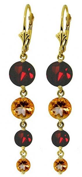 Genuine 7.8 Ctw Garnet & Citrine Earrings Jewelry 14kt