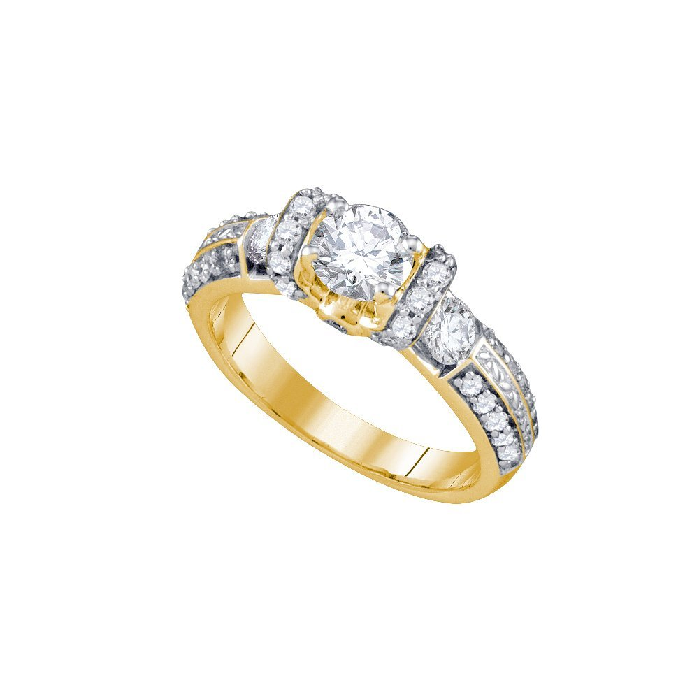 Natural 1.50 ctw Diamond Bridal Ring 14K Yellow Gold -