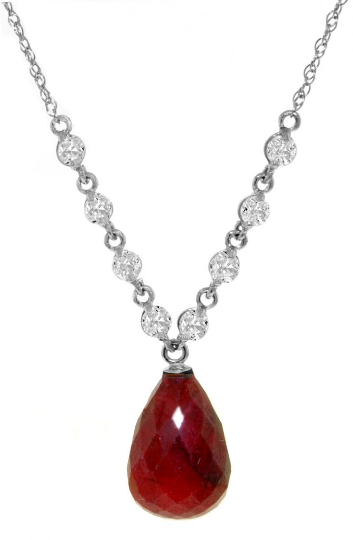 Genuine 15.6 ctw Ruby & Diamond Necklace Jewelry 14KT