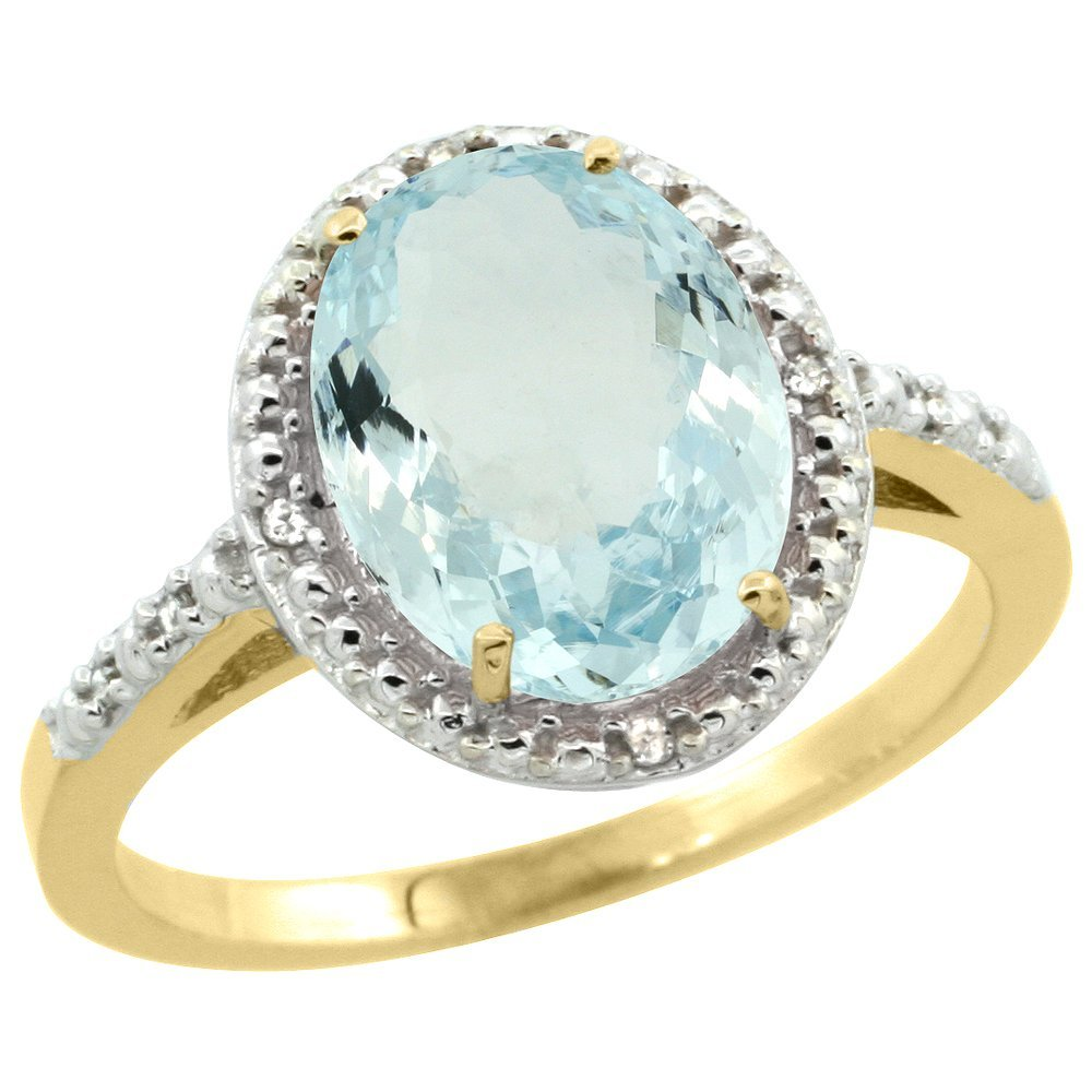 Natural 2.12 ctw Aquamarine & Diamond Engagement Ring