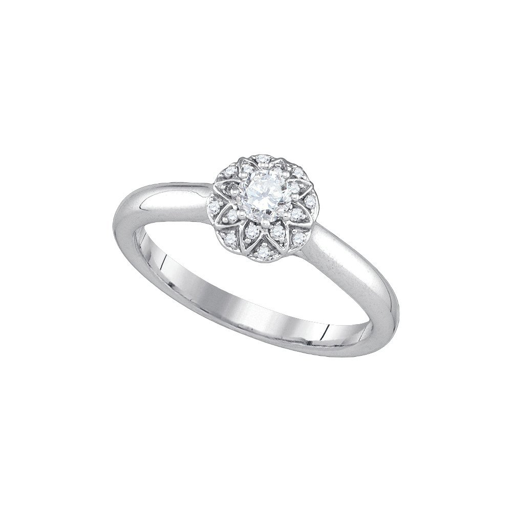 Natural 0.25 ctw Diamond Bridal Ring 14K White Gold -