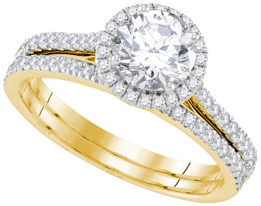 Natural 1.0 ctw Diamond Bridal Set Ring 14K Yellow Gold
