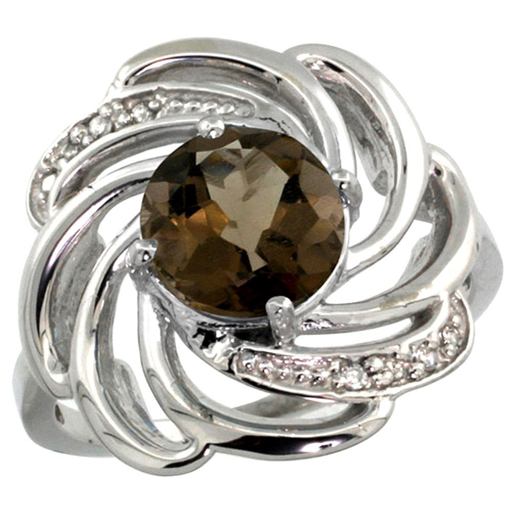 Natural 2.25 ctw smoky-topaz & Diamond Engagement Ring