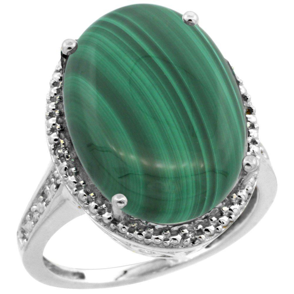 Natural 14.04 ctw Malachite & Diamond Engagement Ring
