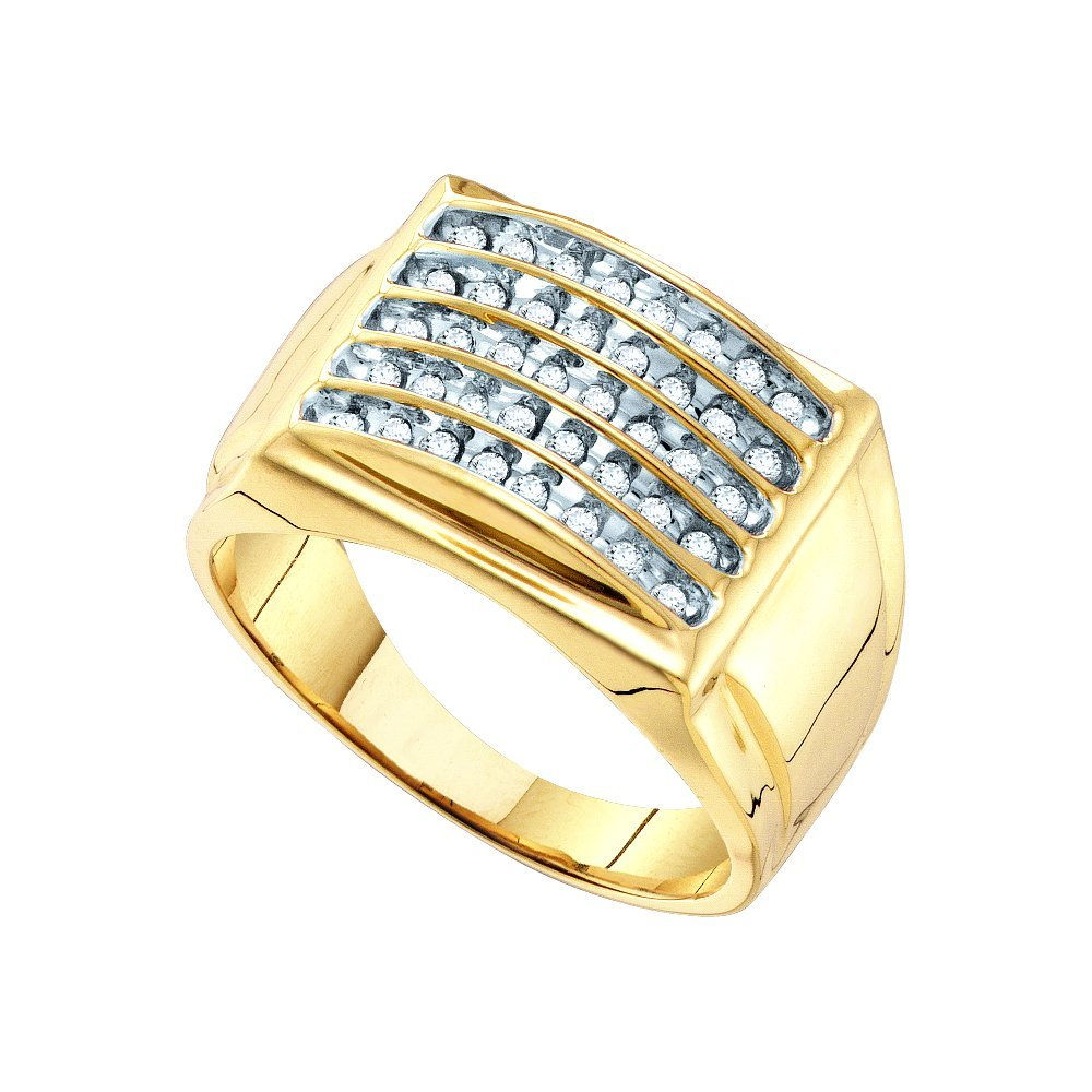 Genuine 0.50 CTW Diamond Men's Ring 10KT Yellow Gold -