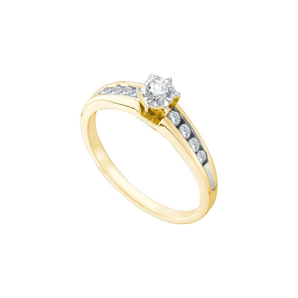 Natural 0.25 ctw Diamond Bridal Ring 14K Yellow Gold -