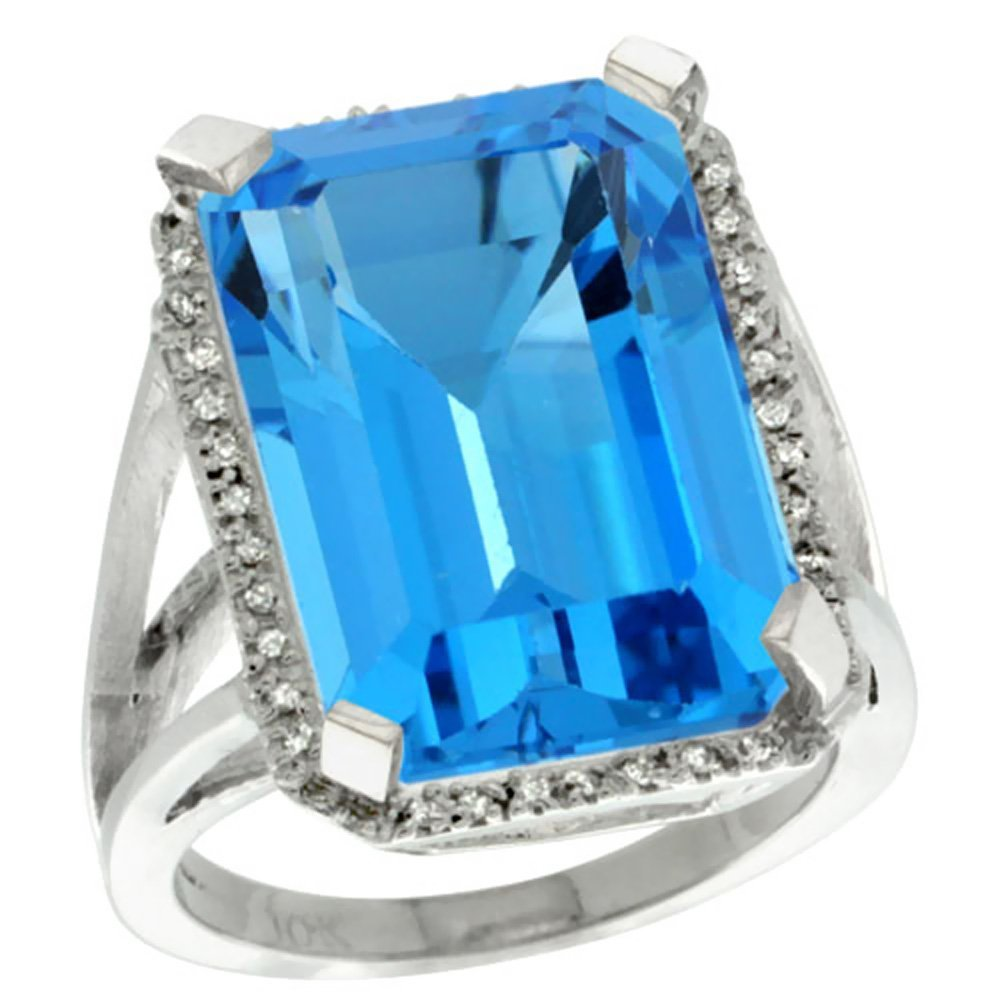 Natural 15.06 ctw Swiss-blue-topaz & Diamond Engagement