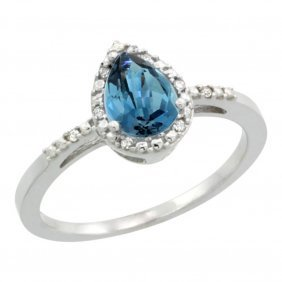 Natural 1.53 Ctw London-blue-topaz & Diamond Engagement