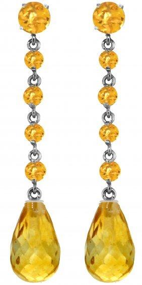 Genuine 23 Ctw Citrine Earrings Jewelry 14kt White Gold