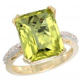 Natural 5.48 Ctw Lemon-quartz & Diamond Engagement Ring