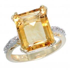 Natural 5.48 Ctw Citrine & Diamond Engagement Ring 14k