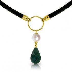 Genuine 10.80 Ctw Green Sapphire Corundum & Pearl