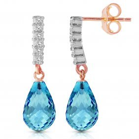 Genuine 4.65 Ctw Blue Topaz & Diamond Earrings Jewelry