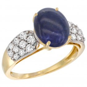 Natural 2.85 Ctw Lapis-lazuli & Diamond Engagement Ring