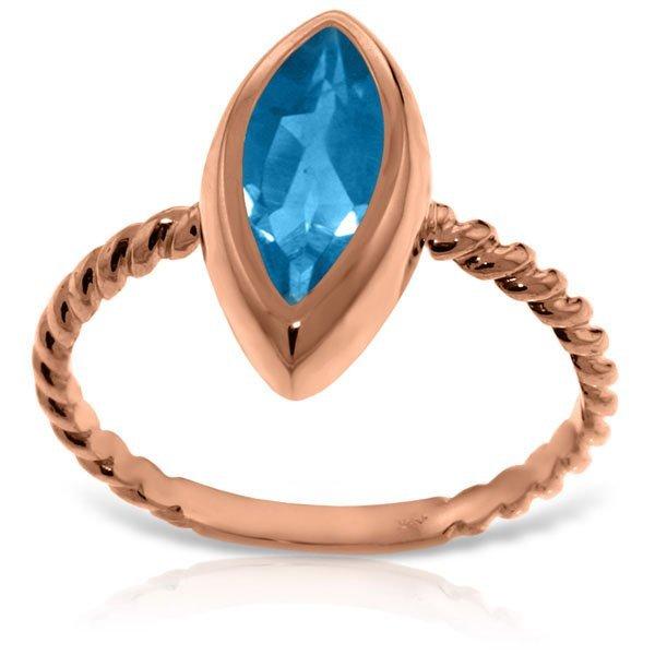 Genuine 2.5 ctw Blue Topaz Ring Jewelry 14KT Rose Gold
