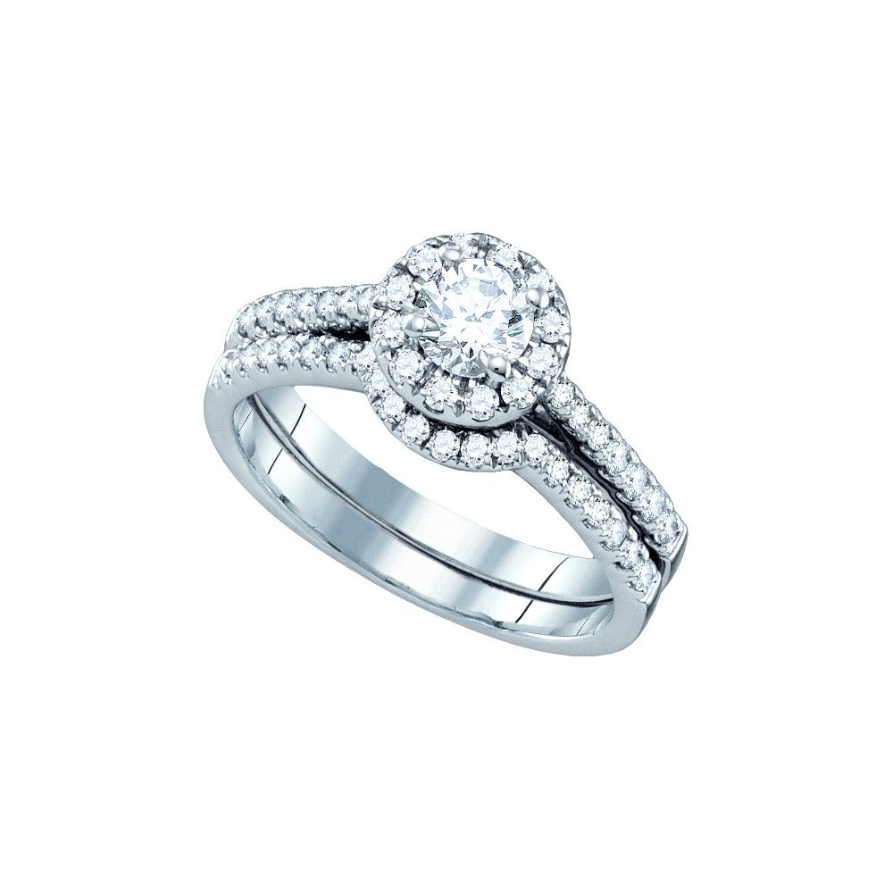 Natural 1.0 ctw Diamond Bridal Set Ring 14K White Gold