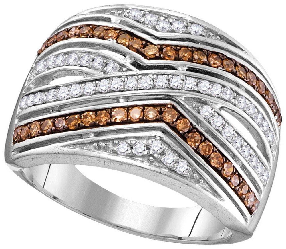 Genuine 0.50 CTW White & Cognac Diamond Ladies Ring