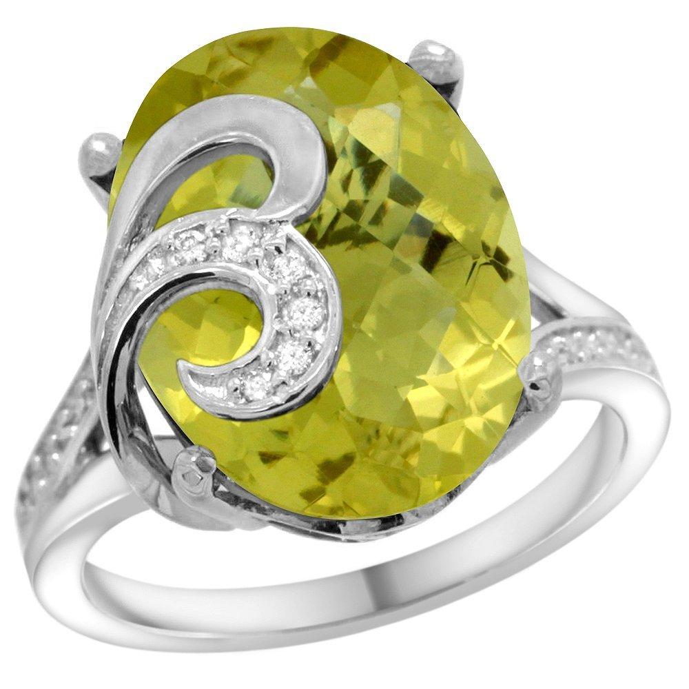 Natural 11.18 ctw lemon-quartz & Diamond Engagement