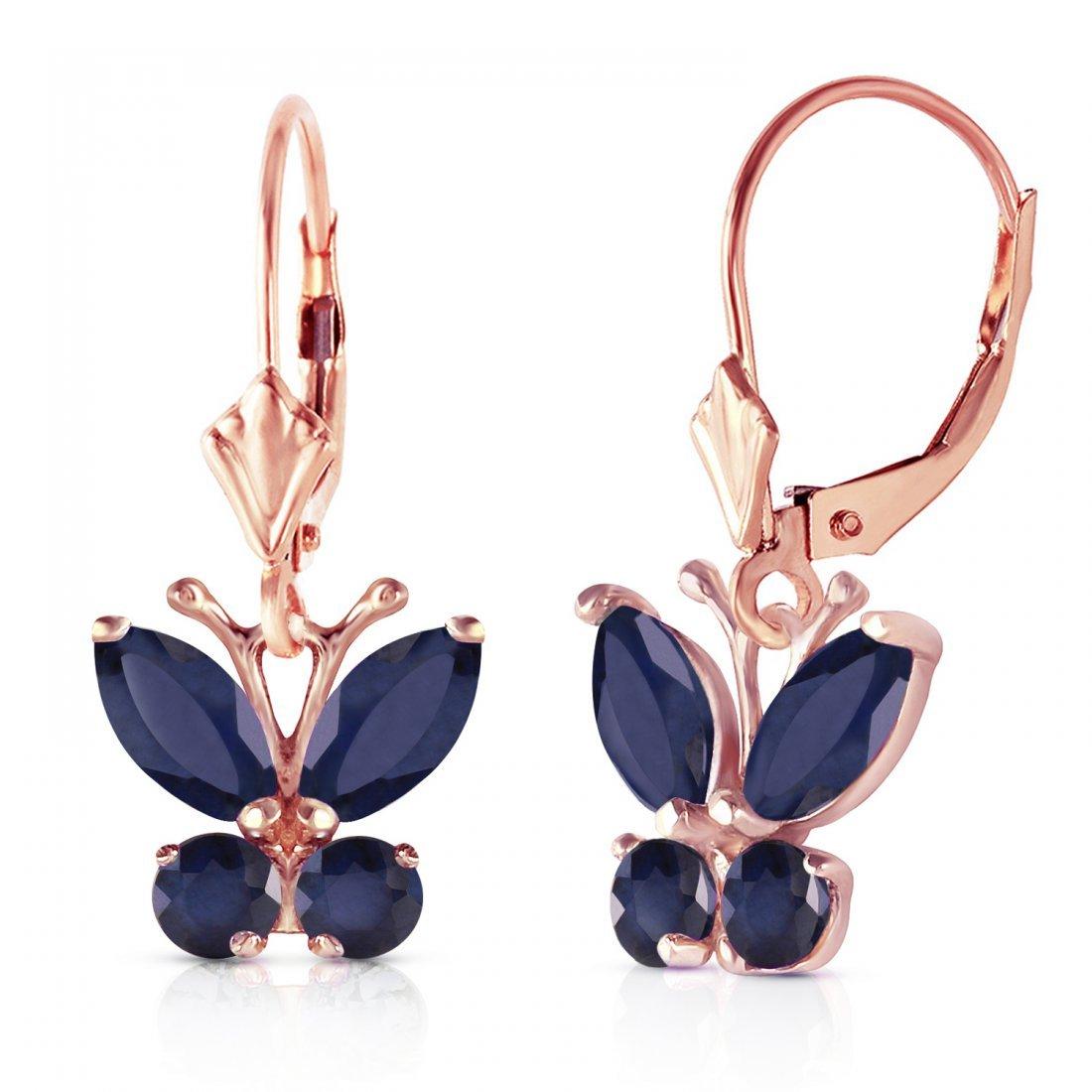 Genuine 1.24 ctw Sapphire Earrings Jewelry 14KT Rose