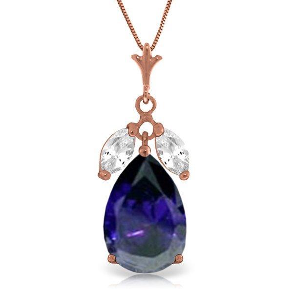 Genuine 5.15 ctw White Topaz Necklace Jewelry 14KT Rose
