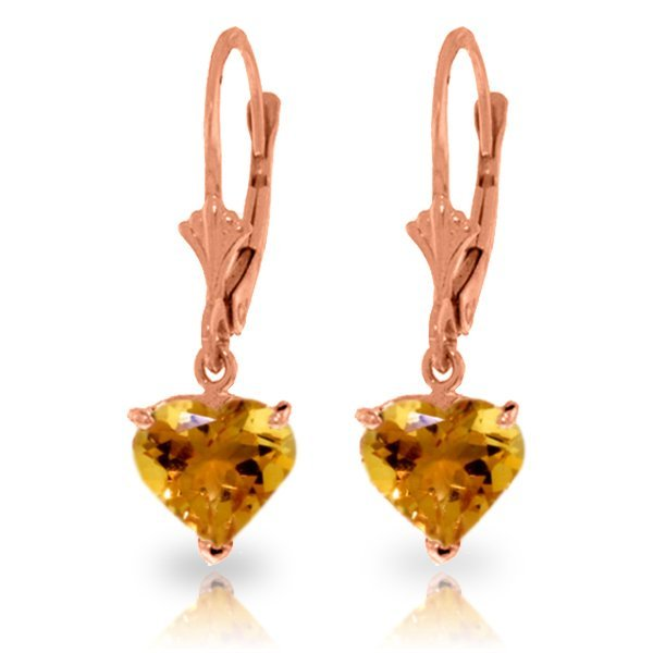 Genuine 3.05 ctw Citrine Earrings Jewelry 14KT Rose