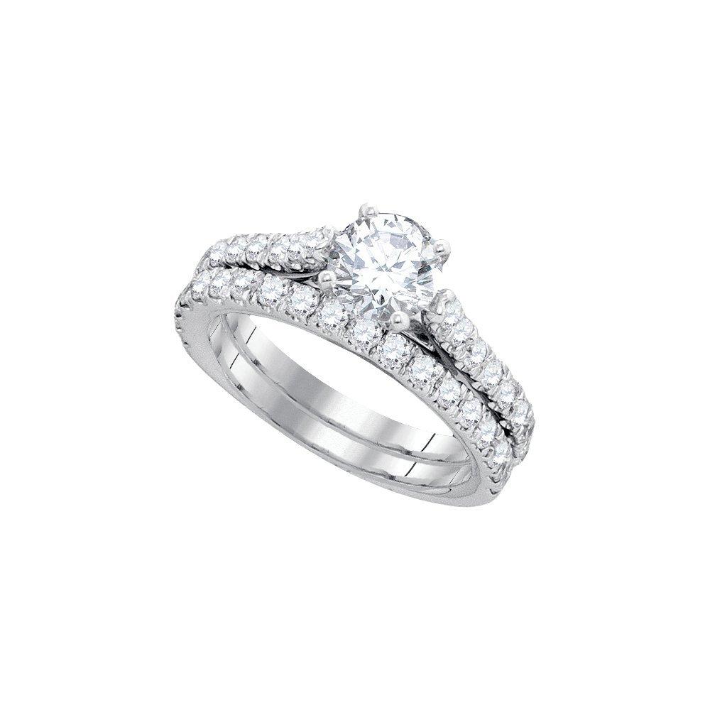 Natural 2.25 ctw Diamond Bridal Set Ring 14K White Gold