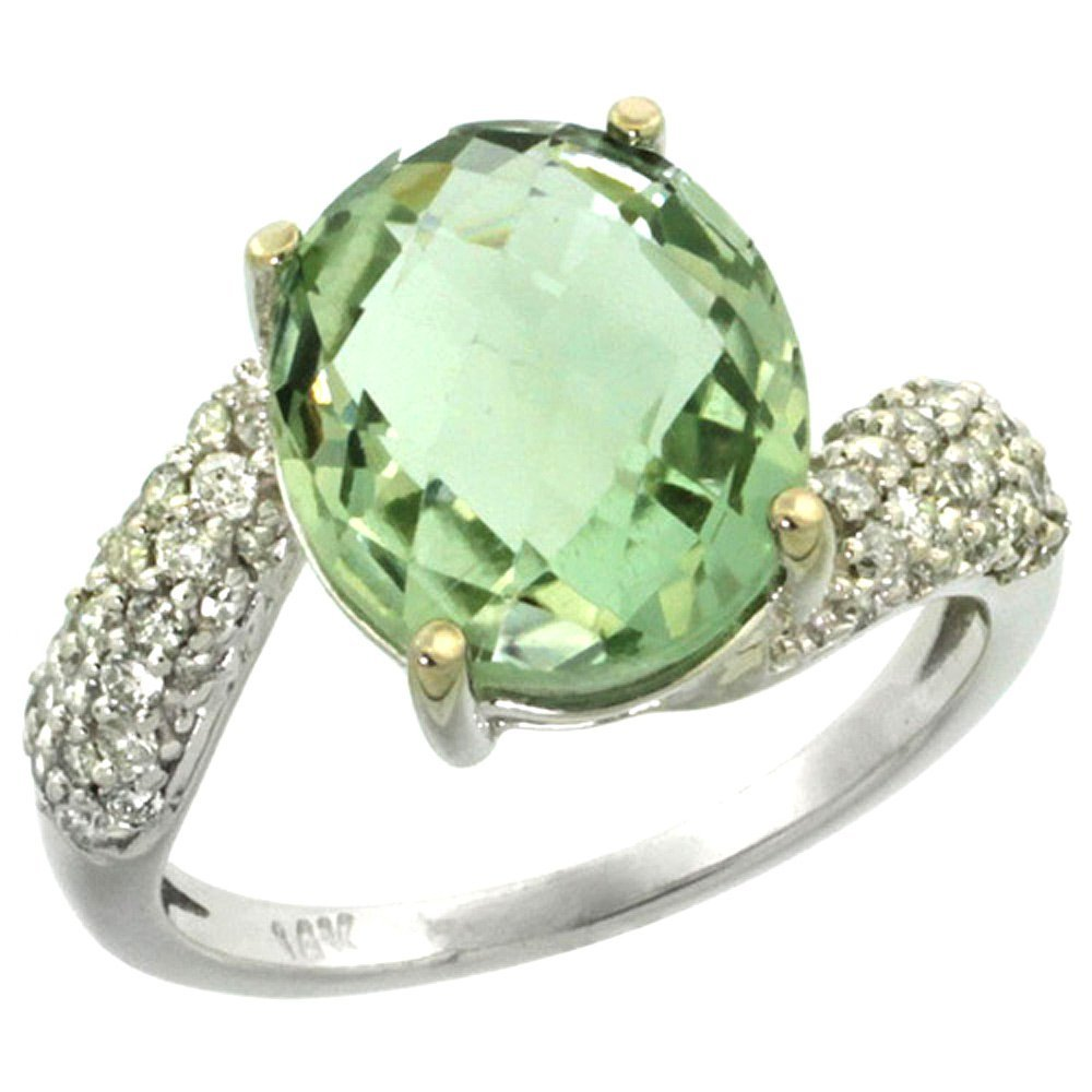 Natural 6.45 ctw green-amethyst & Diamond Engagement