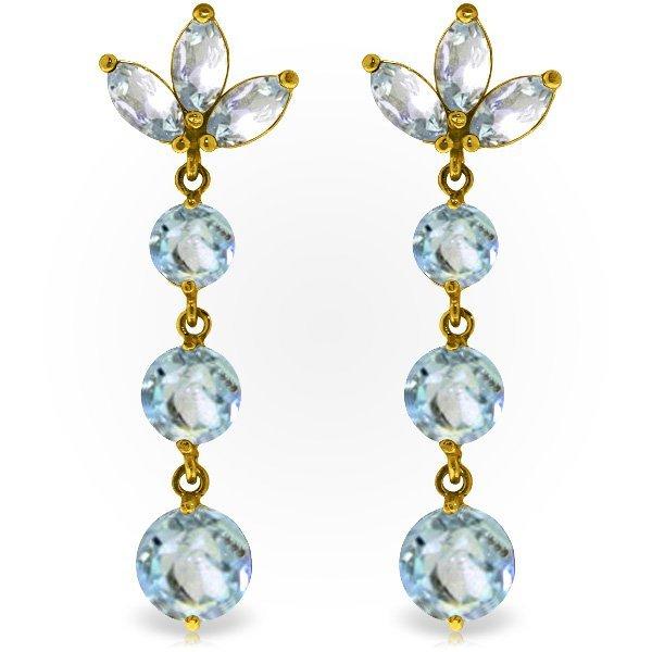 Genuine 8.7 ctw Aquamarine Earrings Jewelry 14KT Yellow