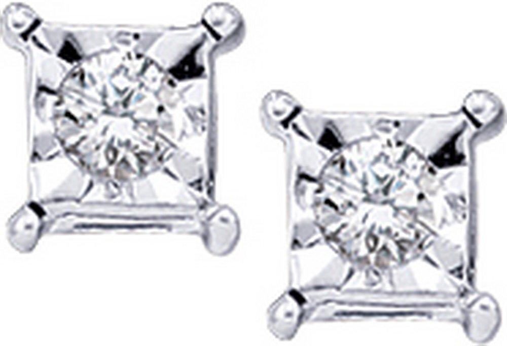 Genuine 0.05 CTW Diamond Earrings 10KT White Gold -