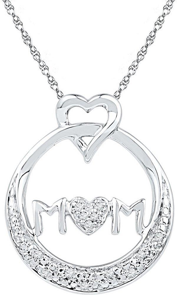 Genuine 0.05 CTW Diamond Pendant White Rhodium Silver -