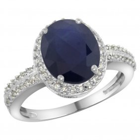 Natural 2.56 Ctw Blue-sapphire & Diamond Engagement