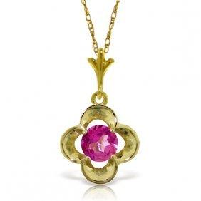 Genuine 0.55 Ctw Pink Topaz Necklace Jewelry 14kt