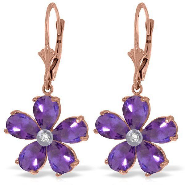 Genuine 4.43 ctw Amethyst & Diamond Earrings Jewelry