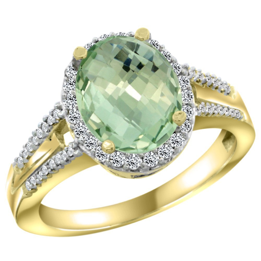 Natural 2.72 ctw green-amethyst & Diamond Engagement