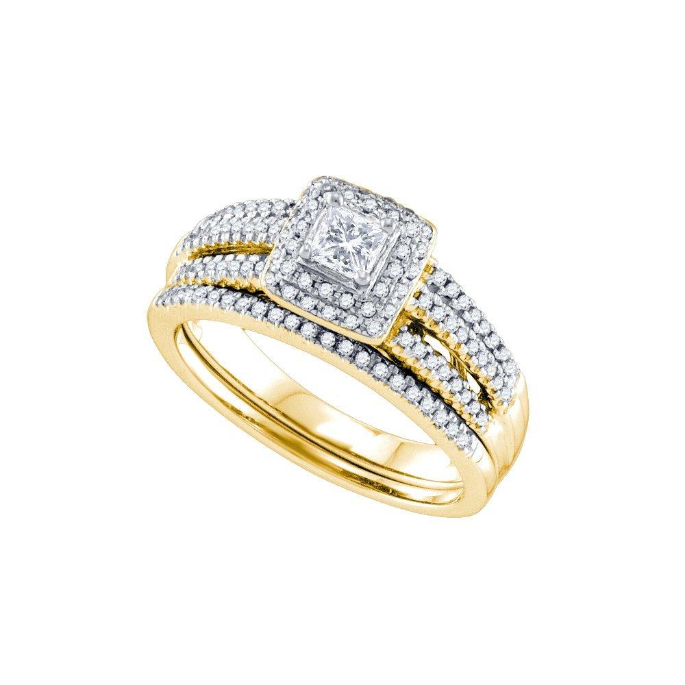 Genuine 0.71 CTW Diamond Bridal Set Ring 14KT Yellow