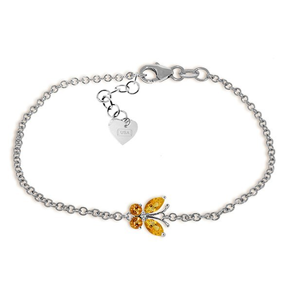 Genuine 0.60 ctw Citrine Bracelet Jewelry 14KT White