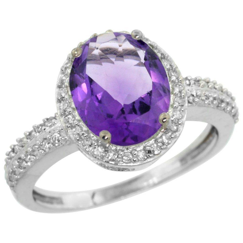 Natural 2.56 ctw Amethyst & Diamond Engagement Ring 14K