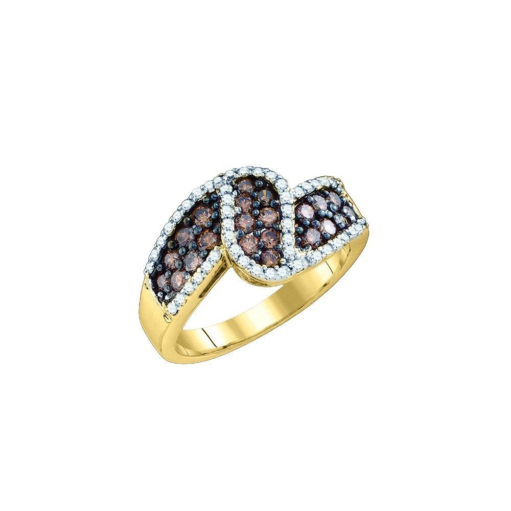 Genuine 1 CTW White & Cognac Diamond Ladies Ring 10KT