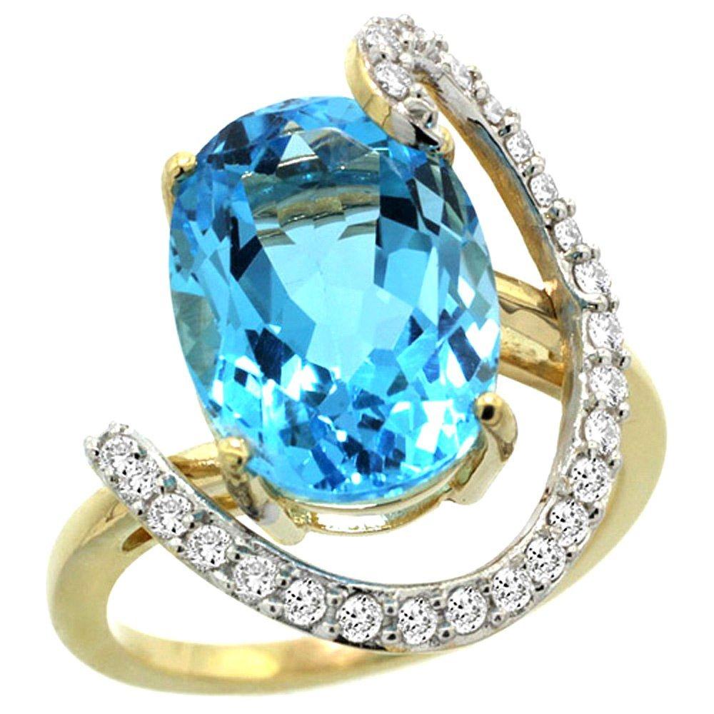 Natural 5.89 ctw Swiss-blue-topaz & Diamond Engagement