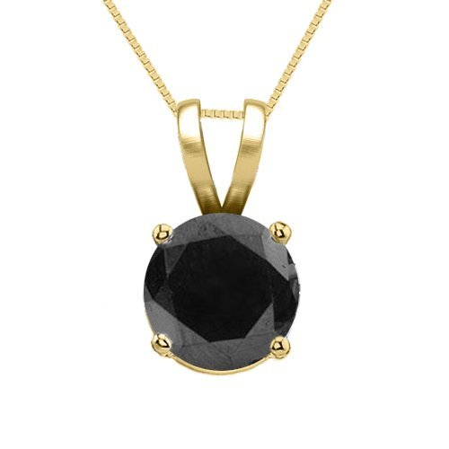 14K Yellow Gold Jewelry 1.0 ct Black Diamond Solitaire