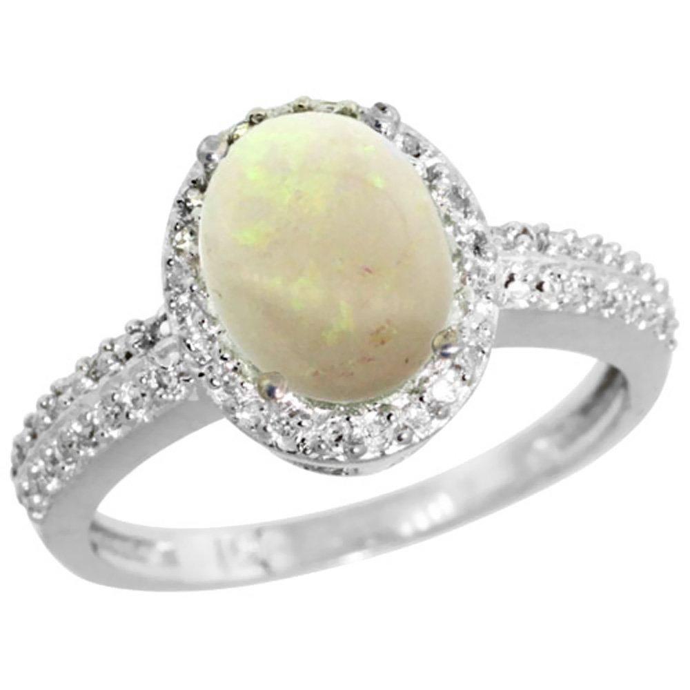 Natural 1.21 ctw Opal & Diamond Engagement Ring 14K