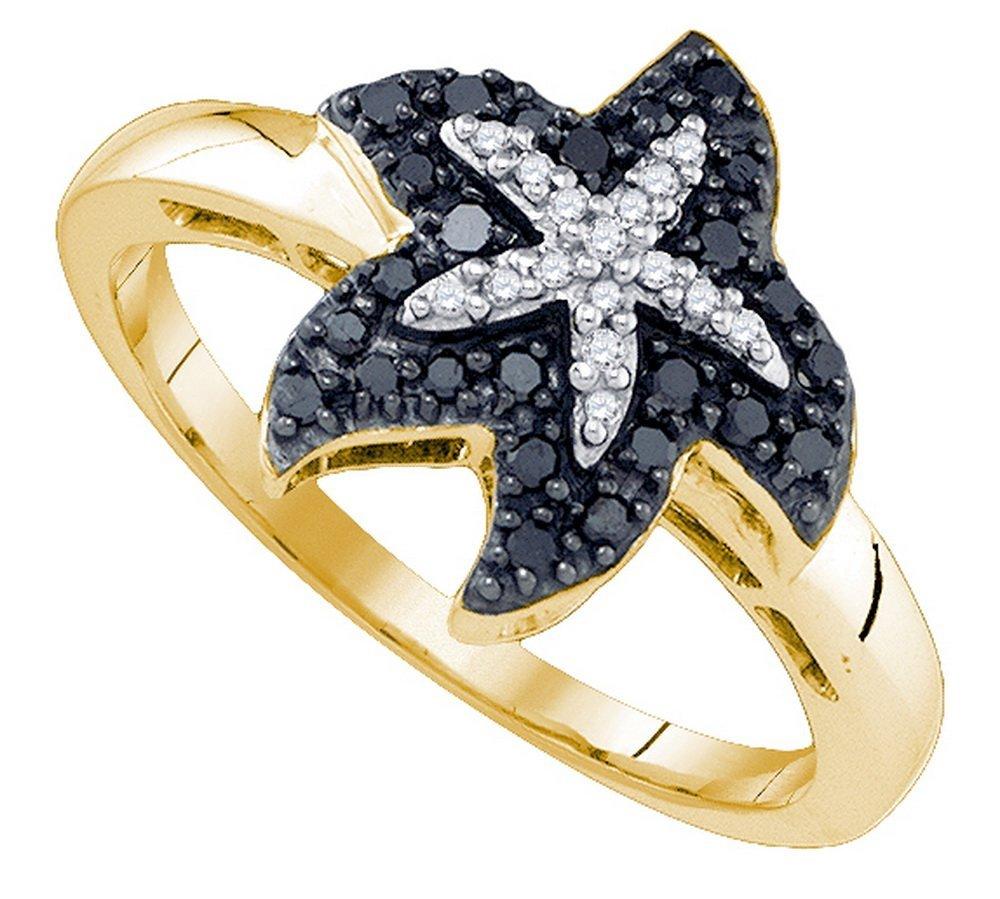 Genuine 0.20 CTW White & Black Diamond Ladies Ring 10KT