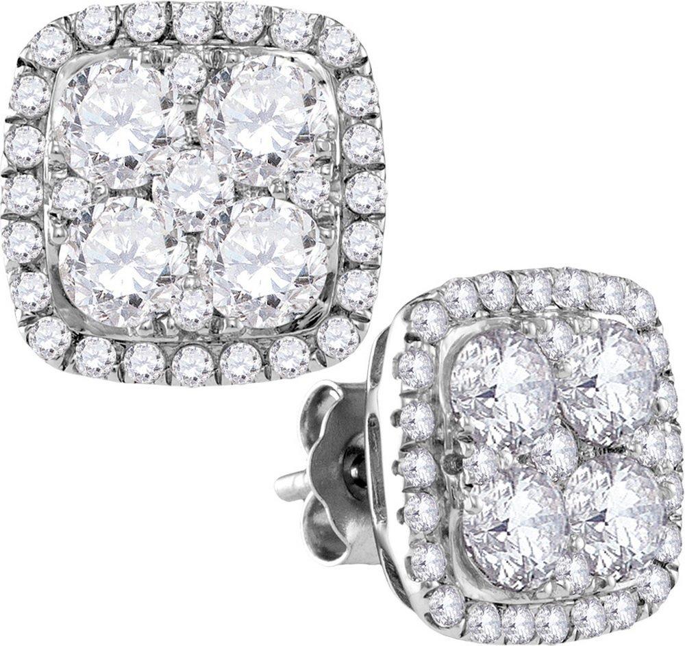 Genuine 2.62 CTW Diamond Earrings 10KT White Gold -