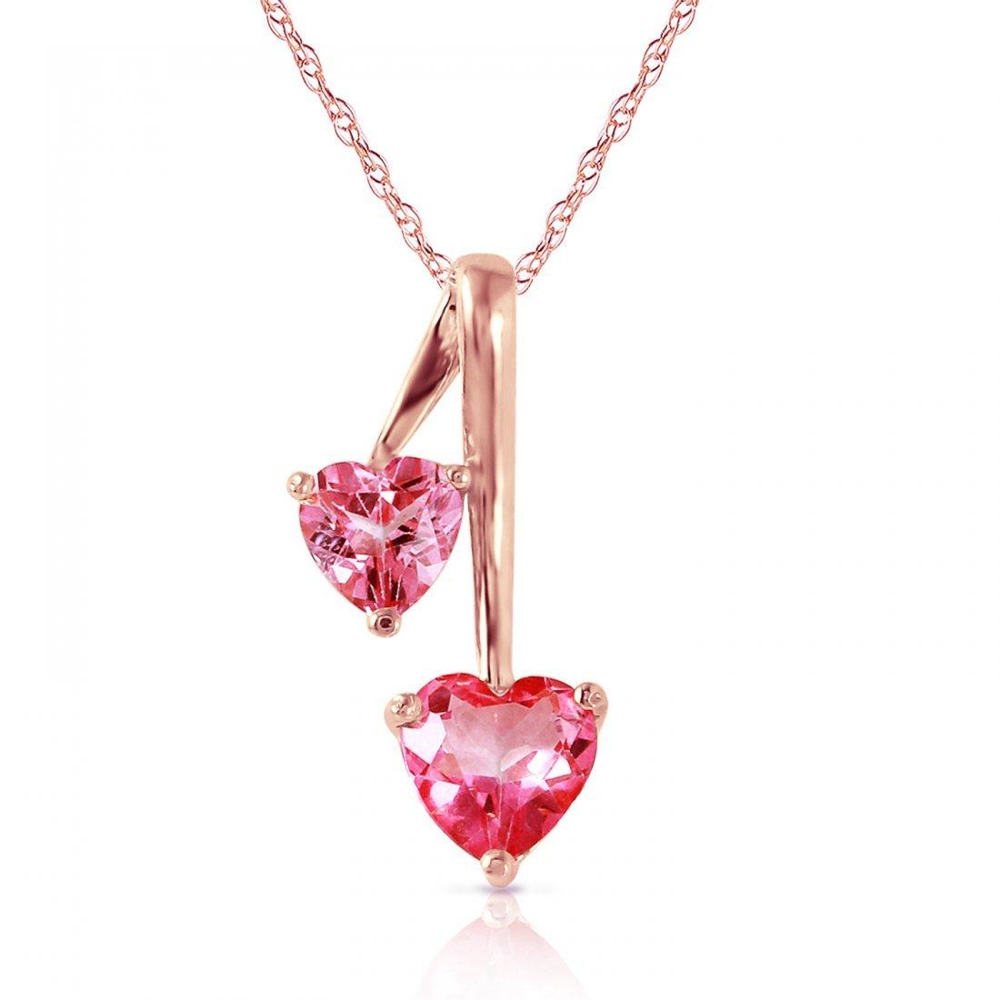 Genuine 1.40 ctw Pink Topaz Necklace Jewelry 14KT Rose